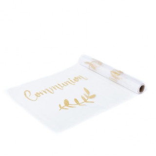 Chemin de table Communion Organza et Or
