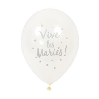 6x  Ballon de baudruche Vive les mariés Argent