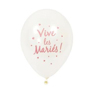 6x  Ballon de baudruche Vive les mariés rose gold