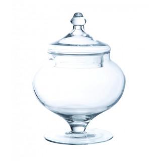 Bonbonnière verre sur pied rond 21.5 cm