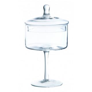 Bonbonnière verre sur pied haut 24 cm