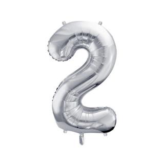 Ballon Chiffre 2 Argent 86cm