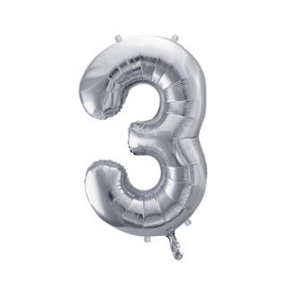 Ballon Chiffre 3 Argent 86cm