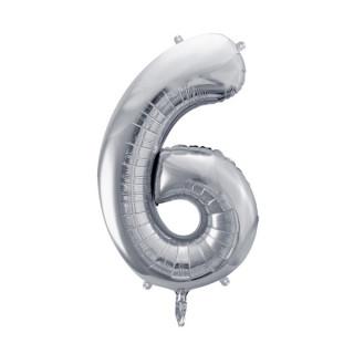Ballon Chiffre 6 Argent 86cm