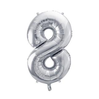 Ballon Chiffre 8 Argent 86cm
