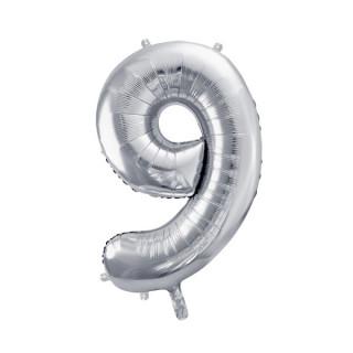 Ballon Chiffre 9 Argent 86cm