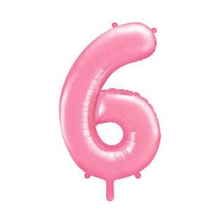 Ballon chiffre 6 Rose pâle