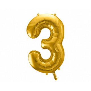 Ballon Chiffre 3 Or 86cm