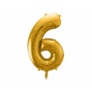 Ballon Chiffre 6 Or 86cm