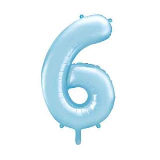 Ballon chiffre 6 Bleu ciel 86cm