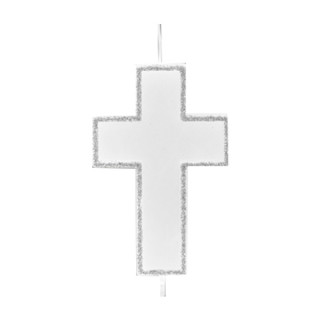 Bougie croix argent