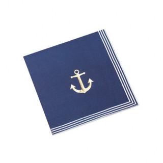 16 serviettes jetable thème mer Ancre