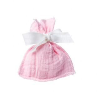 4 x pochon dragées gaze de coton rose