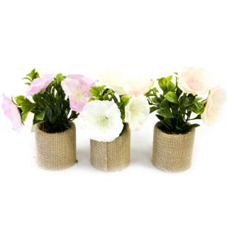 x3 pots de fleurs synthétique