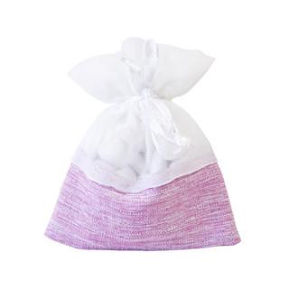 x5 Sachets en tissu rose et blanc