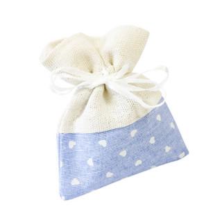 x4 Sachets en tissu bleu avec coeur