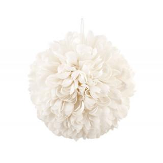 Boule Fleurs Tissu Ivoire - 30 cm