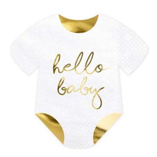 """x20 Serviettes Body """"Hello Baby"""" blanche et or"""