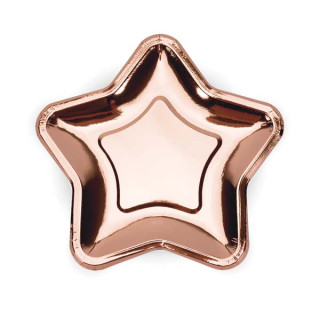 x6 Assiettes étoile Rose gold