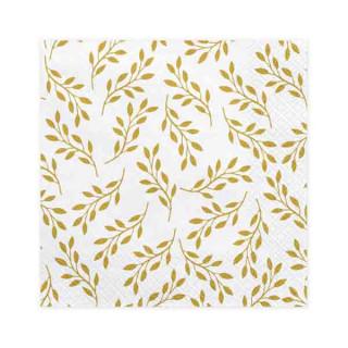 serviettes blanches feuillage doré