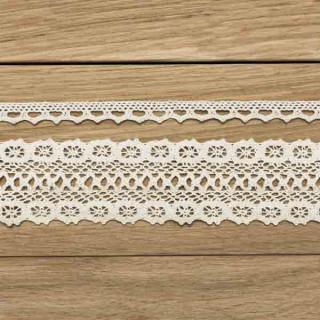 2 rubans coton dentelle ivoire