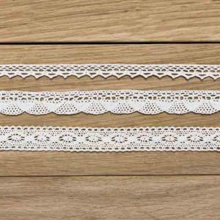 Rubans coton dentelle blanche