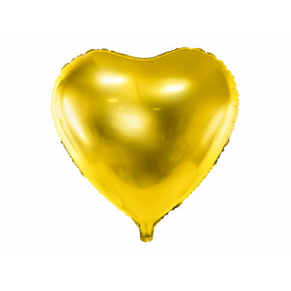 Ballon coeur jaune gold brillant