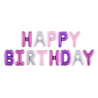 Guirlande de ballon Happy Birthday rose et violet