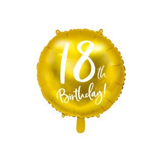 Ballon Anniversaire jaune gold 18 ans