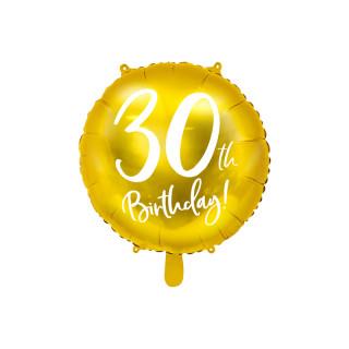 Ballon Anniversaire jaune gold 30 ans