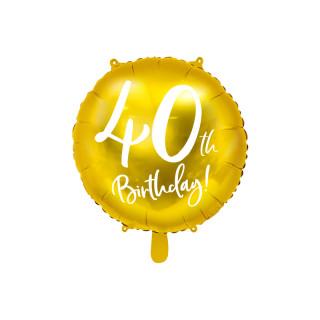 Ballon Anniversaire jaune gold 40 ans