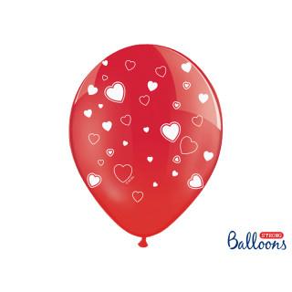 6x Ballon de baudruche Rouge coeur blanc