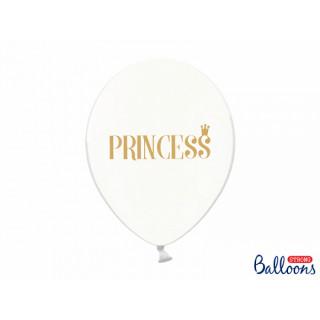 6 x Ballon de baudruche Princesse transparent et or
