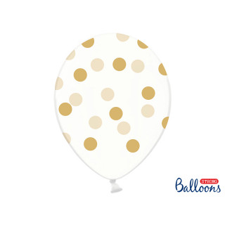 6 x Ballon de baudruche transparent à pois Or
