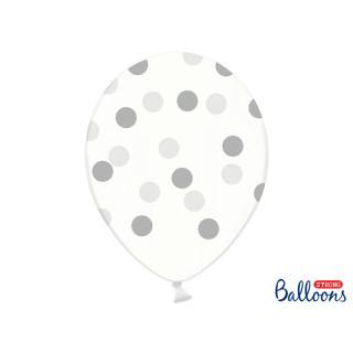 Ballon de baudruche transparent à pois Argent