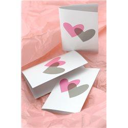 Carton Menu Coeur Rose et Gris x 10