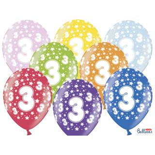 Ballon multicolore anniversaire 3 ans