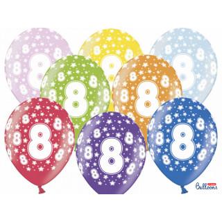 Ballon multicolore anniversaire 8 ans