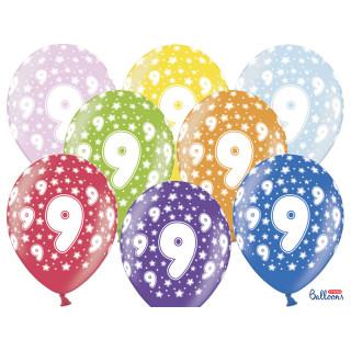 Ballon multicolore anniversaire 9 ans
