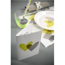 Carton Menu Coeur Vert et Gris x 10