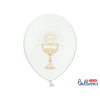 Ballon communion blanc et or