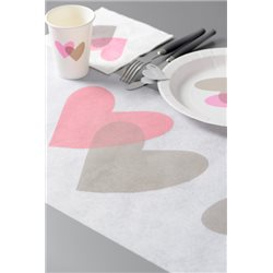 Chemin de Table Coeur Rose et Gris