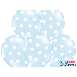 Ballon de baudruche Bleu ciel avec pois blanc