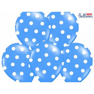 Ballon de baudruche Bleu avec pois blan