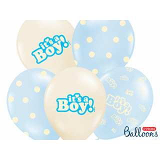 Ballon de baudruche It's a Boy beige et bleu