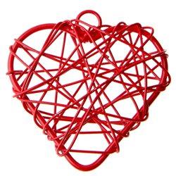 Petit coeur métal Rouge x 6