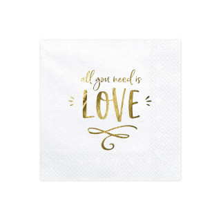 Serviette Papier All You Need Is Love Doré