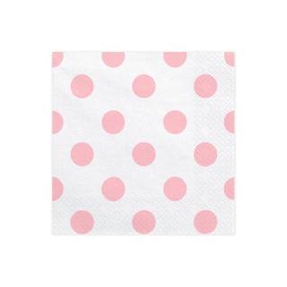 Serviettes Papier blanc pois rose