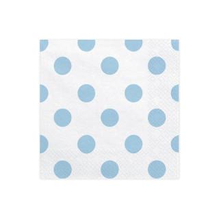 Serviettes Papier blanc pois bleu