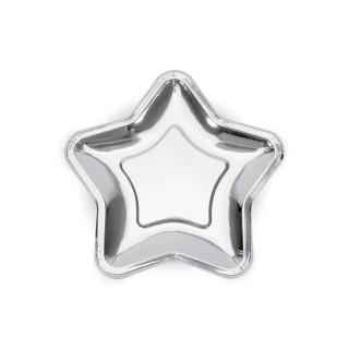assiettes forme étoile argent 18 cm